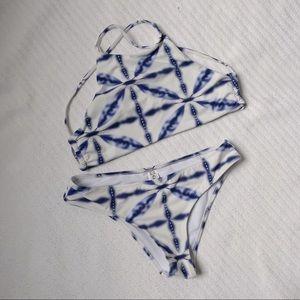 Cupshe White/Blue Bikini
